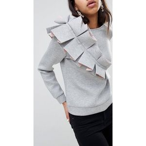 Lost Ink Scuba Sweater with 3D Ruffle